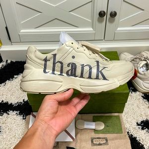 Like New Gucci Men's 'think/thank' Print Rhyton Sneakers